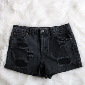 Forever 21 Black Denim High-Waisted Shorts